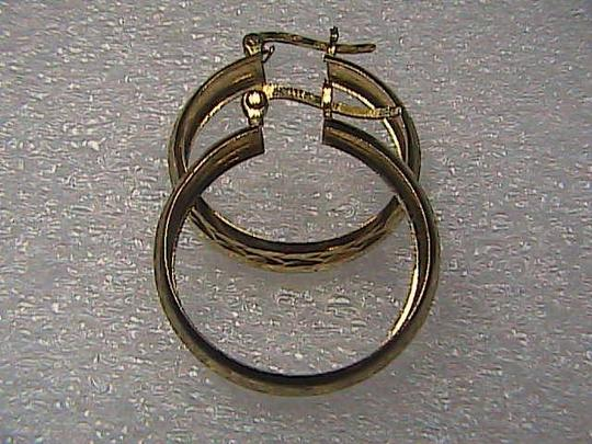 Vintage Gorgeous Sterling Silver Diamond Cut Gold Color Hoop Earrings