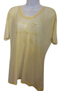 Calvin Klein T Yellow Sheer T Designer Sheer T T T Shirt Buttercup Yellow