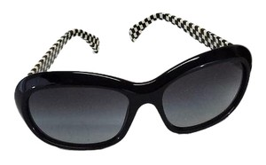 Miu Miu Black & Cream Checkered Sunglasses