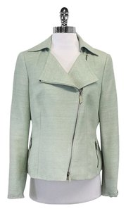 Akris Punto Seafoam Green Silk Textured Motorcycle Jacket