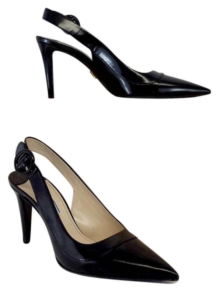 Prada Black Leather Slingback Slingback Leather Heels Sandals e3757d