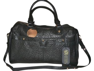 Hayden-Harnett Leather Satchel in Black with Rose Gold Hardware