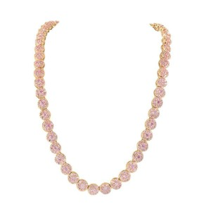 36 Chain 14k Rose Gold Finish Flower Cluster Pink Simulated Diamond