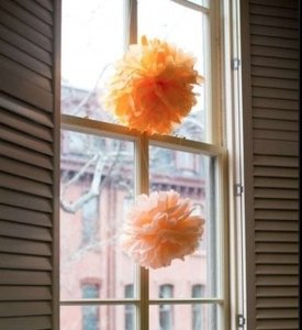 Martha Stewart Apricot Peach French Vanilla Tissue Paper Pom Poms Reception Decoration