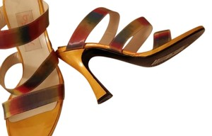 Byblos Bright Yellow Patent Leather/ Hologram shows Pink ,Blue as well Sandals