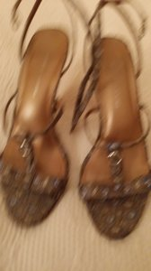 DKNY Gold Brocade Metalic with Blue and a Bronze leather heel Sandals