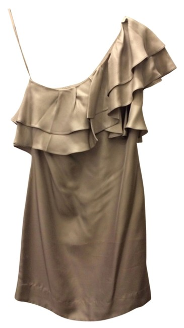 Banana Republic Silver One Shoulder Wedding Bridesmaid Ruffle Dress