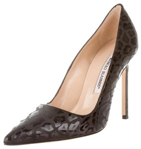 Manolo Blahnik Bb Pointed Toe Leopard Animal Print Glossy Black Pumps
