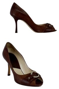 Dior Brown Crackled Leather Pumps