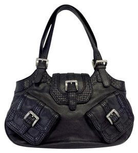 Cole Haan Black Leather Front Buckle Hobo Bag