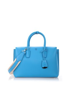 MCM Milla Leather Crossbody One Satchel in Tile Blue