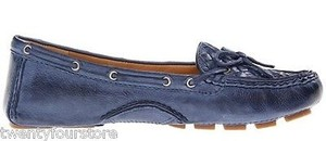 Frye Raegan Woven Driving Loafer Moccasins In Leather Blue Flats
