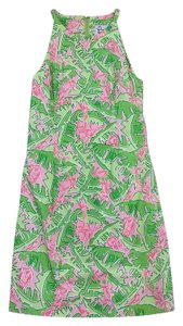 Lilly Pulitzer short dress Green & Pink Monkey Print Cotton Sleeveless on Tradesy