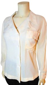 Joy Stevens Silk Size Medium P1091 Inv Button Down Shirt ivory