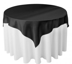 Black Satin Table Overlays 60 Tablecloth
