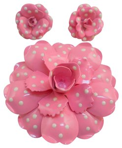 Joan Rivers Joan Rivers Pink Polka Dot Pin/Earrings Set