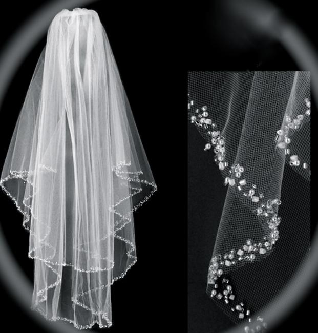 Item - Ivory Medium Crystal Beaded Edge Bridal Veil