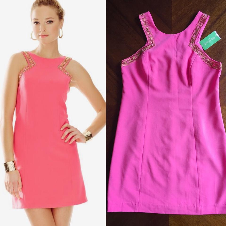 Lilly Pulitzer Hot Pink Largo Shift Tropical Mini Cocktail Dress ...