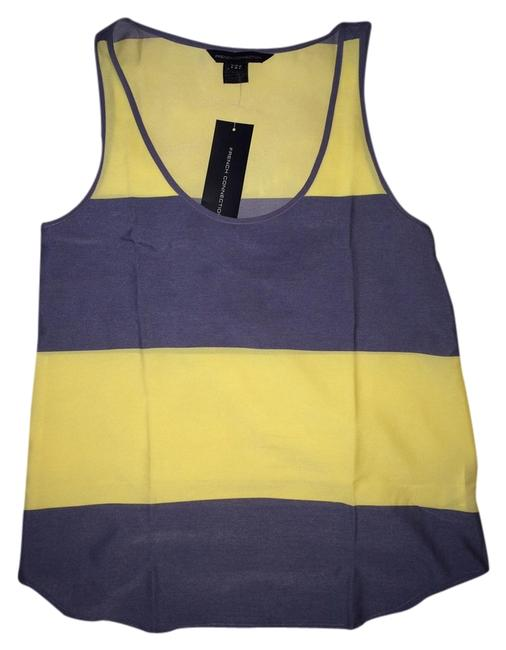 French Connection Vest Top Yellow & cornflower blue