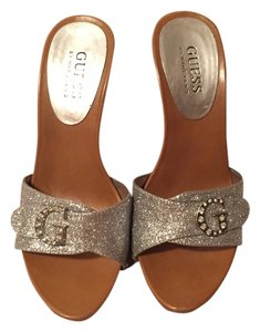 Guess Sparkly High Heel Silver Mules