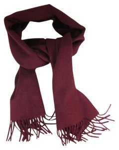 Burberry Burgundy, Long 100% Cashmere Scarf 64