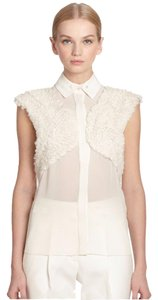 Jason Wu Ruffle Silk Buttoned Collar Top Ivory