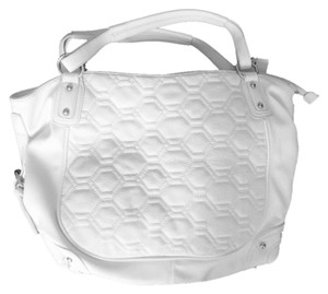 Big Buddha Quilted Vegan Leather Handbag Tote in White