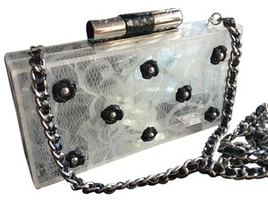 Katherine Kwei Clear with Black leather Roses Clutch
