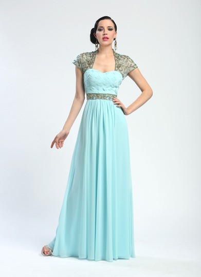 Sue Wong Turquoise W4202 Beaded Cap Sleeve Mother Of Bride Dress