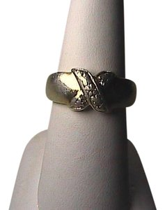 Vintage Sterling Silver X Cross CZ Band Ring