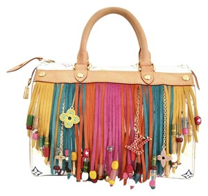 Louis Vuitton Speedy Charms Limited Edition Fringe Satchel in Multi color