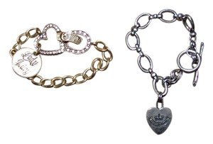 Juicy Couture 2 Juicy Couture Rhinestone Heart Rustic Chain Bracelet