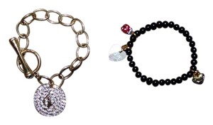Juicy Couture 2 Juicy Couture and Baby Phat Rhinestone Chain Black Beaded Bracelets