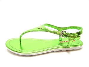 Prada Nero Flat Metallic Green Sandals