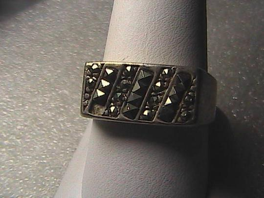 Vintage Sterling Silver Marcasite Stripes Band Men Ring