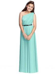 Dessy Junior Bridesmaid Dress Jr525 Quarry Dress / Midnight Belt Size 12 Jb
