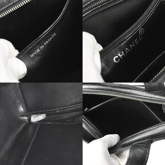 Chanel Caviar Leather Shoulder Tote in black