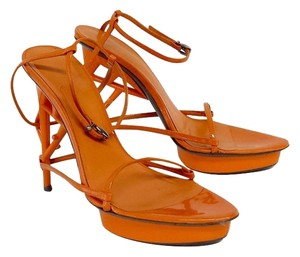 Jil Sander Oragne Leather Strappy Heels Sandals