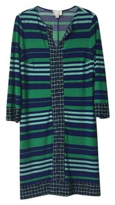 Donna Morgan Green Blue Sleeves Dress