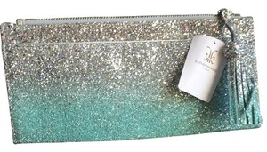 Katherine Kwei Teal and Silver Clutch