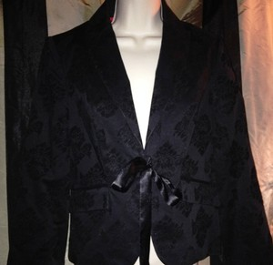 Apostrophe Velvet Flocked Damask Black Blazer