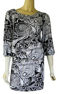 BCBGMAXAZRIA short dress Black and white Jersey Mini Stretch Blouson on Tradesy