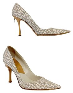 Dior White & Biege Monogram Pointed Toe Heels Pumps
