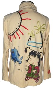 Chico's Spa Embroidered Asian Oriental yellow Jacket