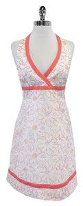 Lilly Pulitzer short dress White Pink Orange Floral Halter on Tradesy