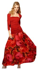 Newport News Maxi Long Spiegel Maxi Skirt Red and Black Floral
