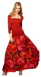 Newport News Long Spiegel Duster Maxi Skirt Red and Black Floral