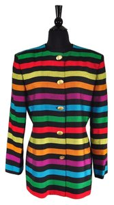 Dior Vintage 1980s Linen Striped Multi-Color Jacket