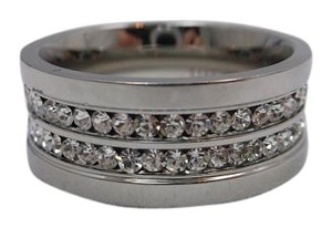 Simulated Diamonds in 316L Surgical Steel Ring Size 12 w Free Shipping