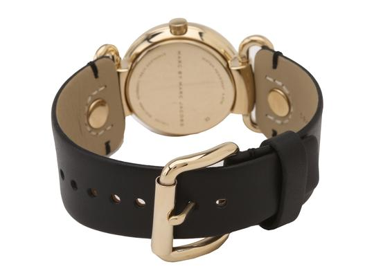 Marc by Marc Jacobs Marc By Marc Jacobs Molly Mini Gold Tone Black Leather Watch